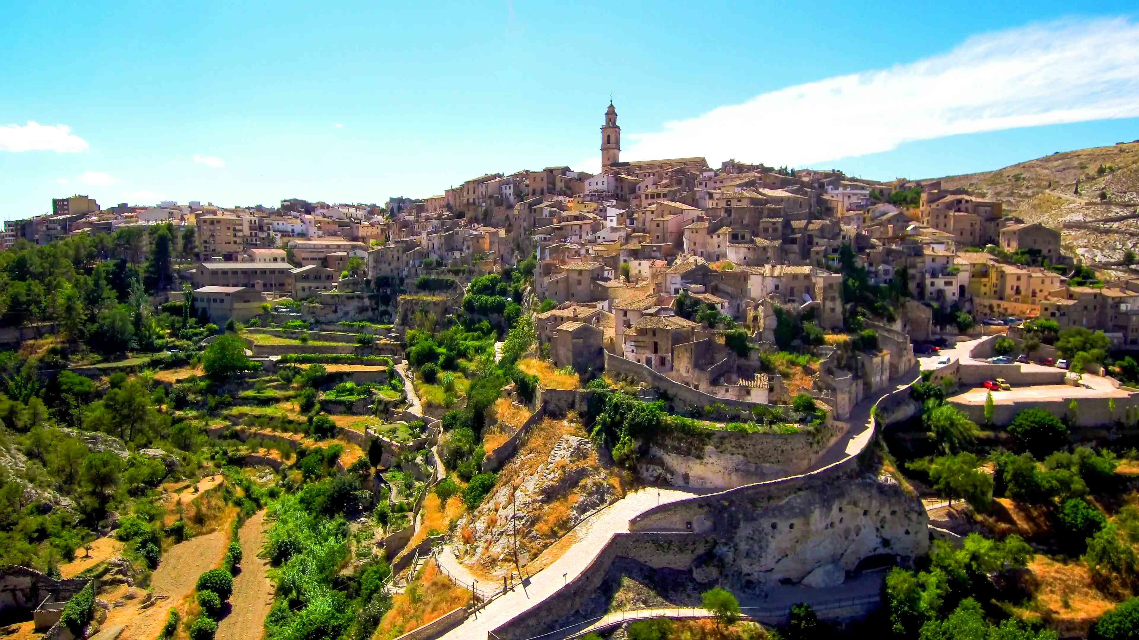 Bocairent. Village of Valencia from a drone (Spain)