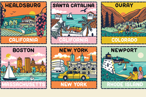 Illustration showing some cities that are featured in the article