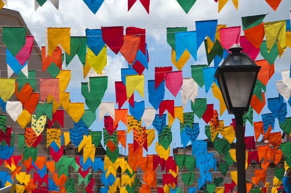 June festivals with colorful flags, São Luis, Maranhão