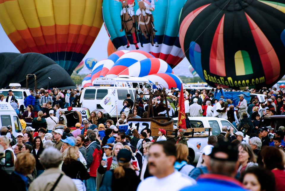 Crowd and hot-air balloons, Albuquerque International Balloon Fiesta 2006.