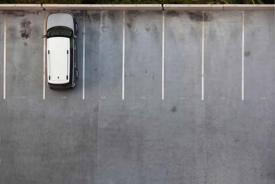 Single Car on a Parking Lot
