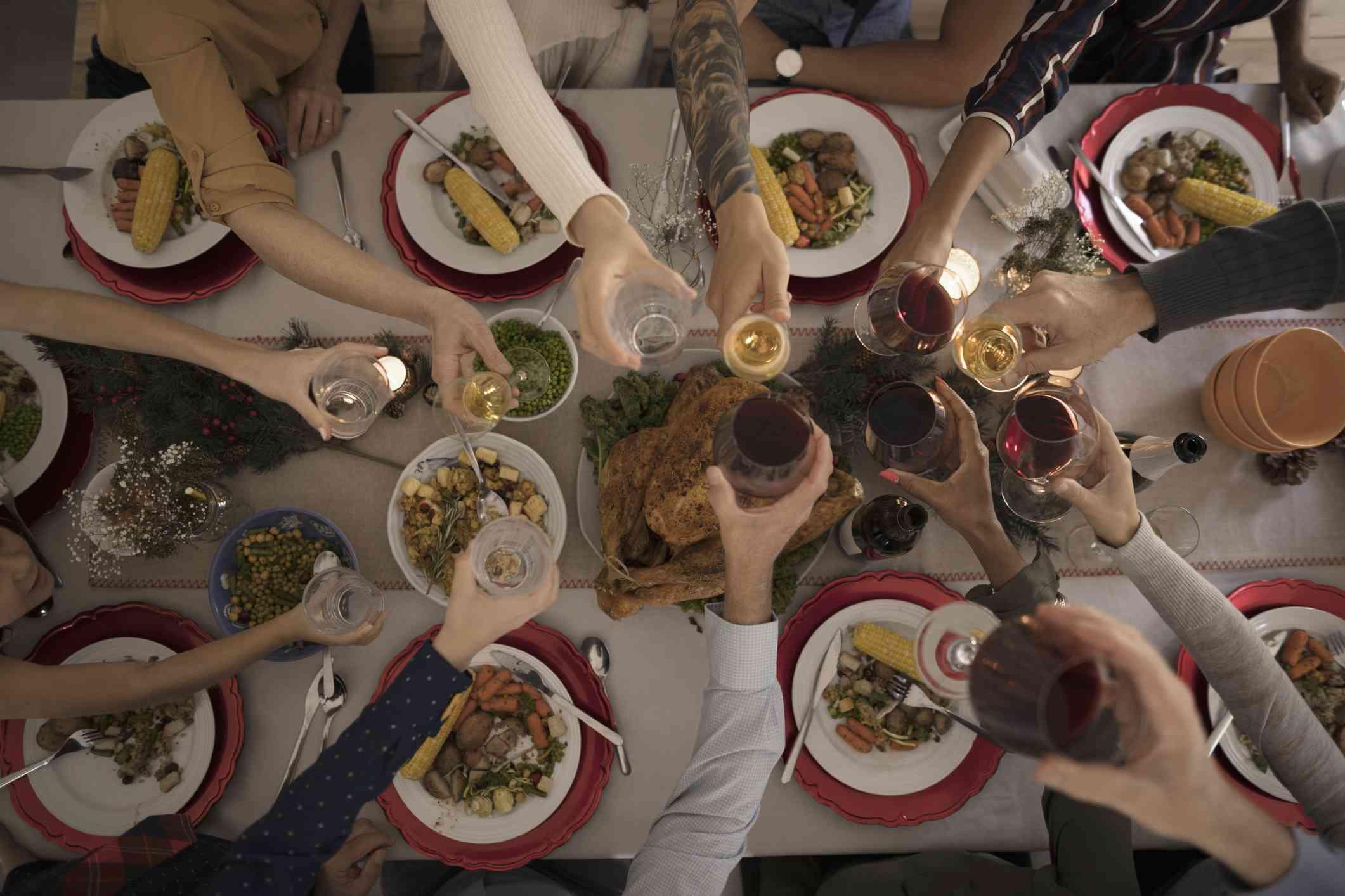 Enjoying Thanksgiving day meal