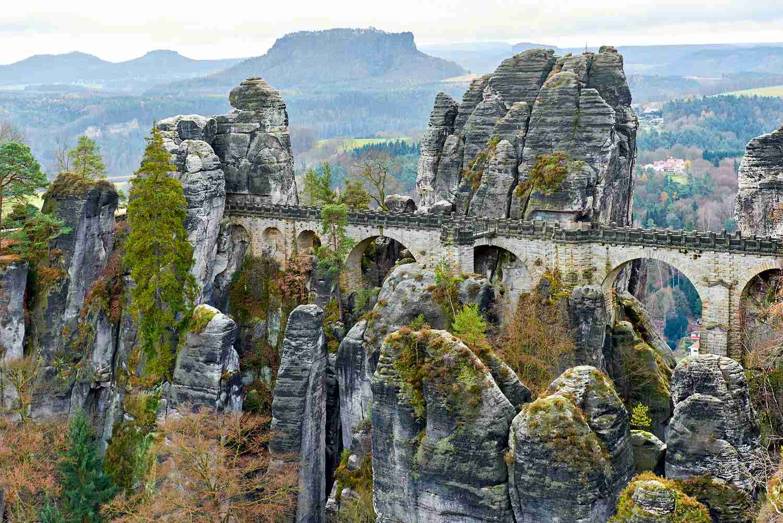 Bastei Bridge in Saxon Switzerland National Park