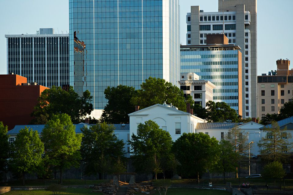 View of downtown Little Rock Arkansas from the North Little Rock side of the Arkansas River.