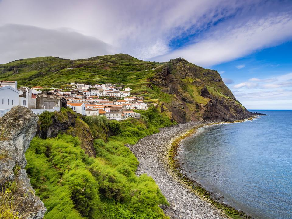 View of the Azores shore and a town