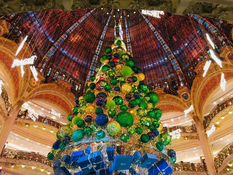 37a857e2 The annual Christmas tree display at Paris' Galeries Lafayette department  store