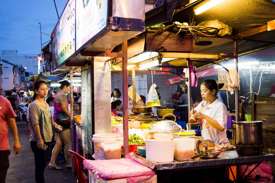 Food stalls at night on Lebuh Chulia, Georgetown, Penang, Malaysia