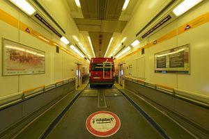 Car in shuttle wagon, Eurotunnel Le Shuttle, Folkestone to Calais, Great Britain