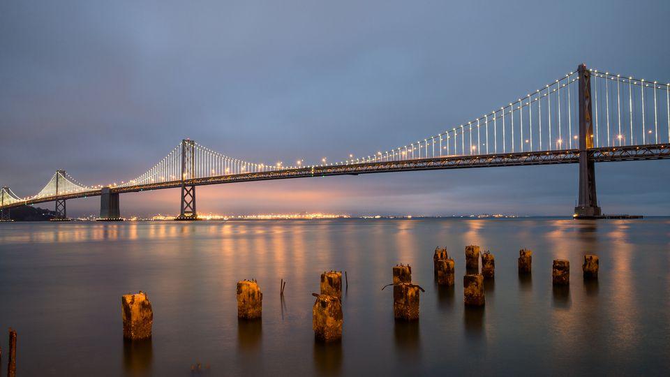 San Francisco Bridge at sunset in August