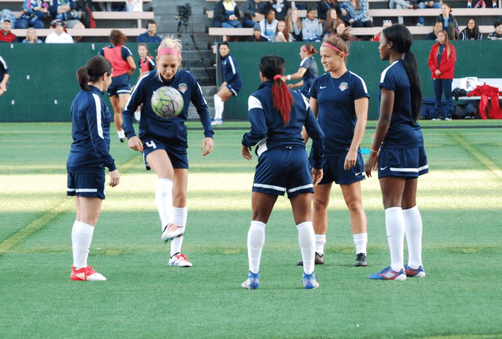 Washington Spirit soccer team warming up