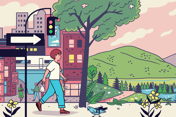 Illustration of woman walking out of a city and into nature