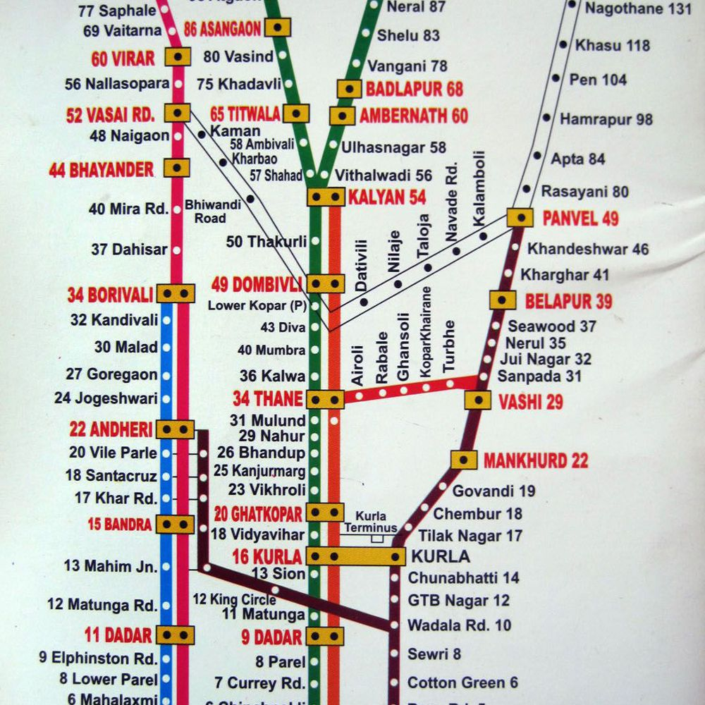 Mumbai Suburban Map Printable Mumbai Local Train Map for Tourists