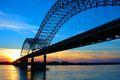 Hernando DeSoto Bridge, Memphis On the Mississippi River at sunset in Memphis, Tennessee.