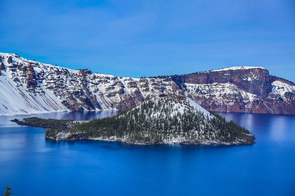 Close Up of Snowcapped Wizard Island in Crater Lake, Oregon