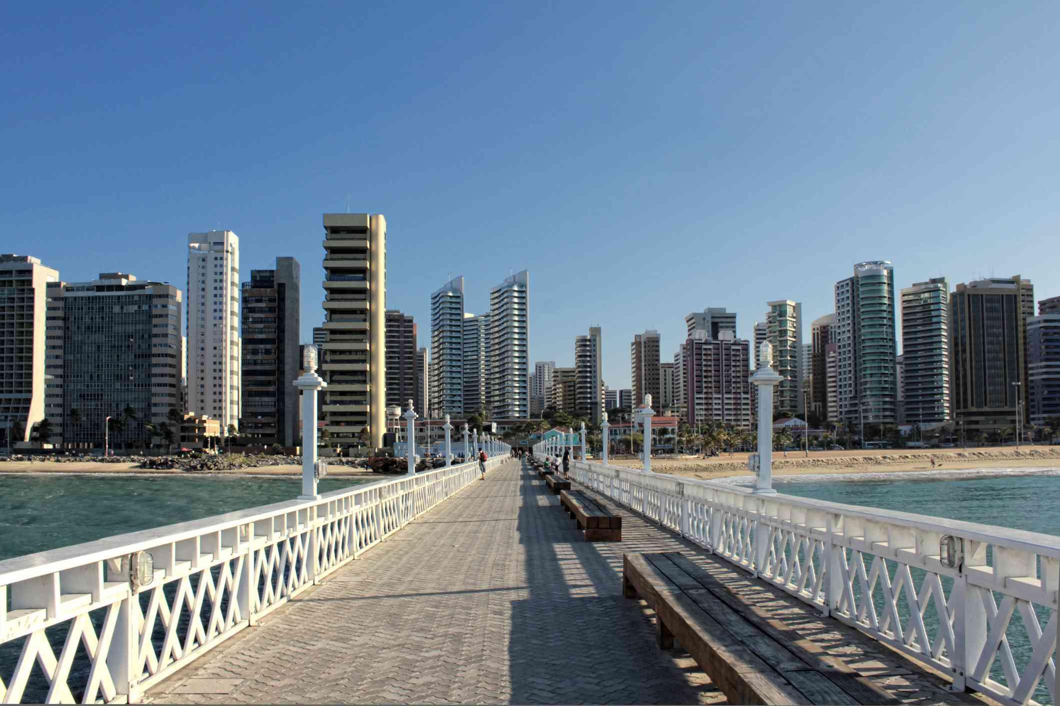 Pier of Iracema beach with skyline in background, Fortaleza, Ceará, Brazil.