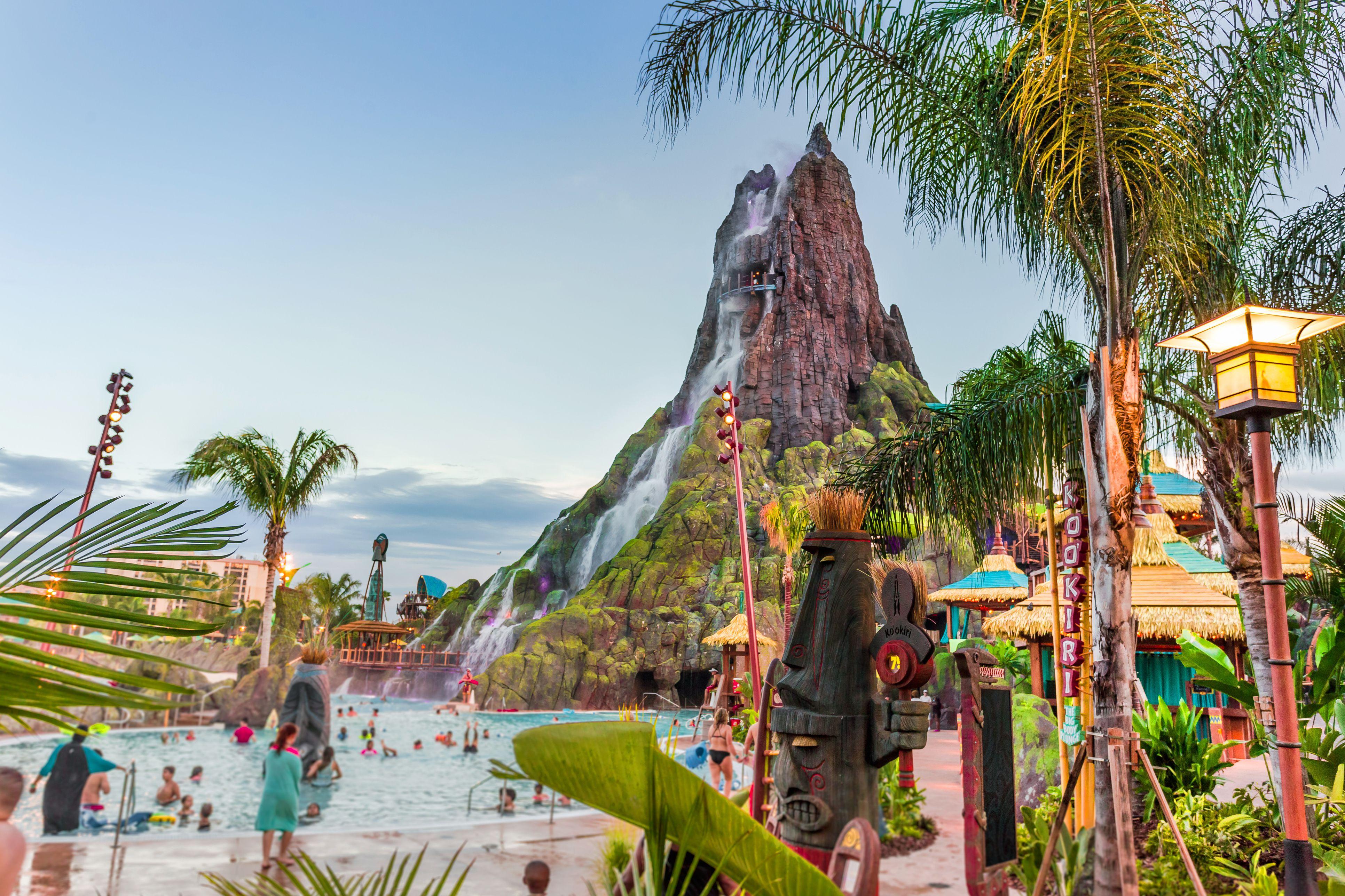 Volcano Bay waterfall in Universal Studios, Orlando, Florida, USA