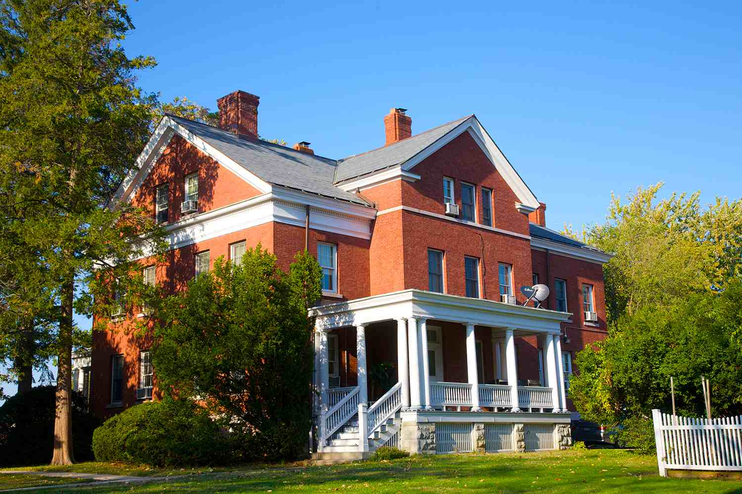 Red brick building with porch, Fort Totten