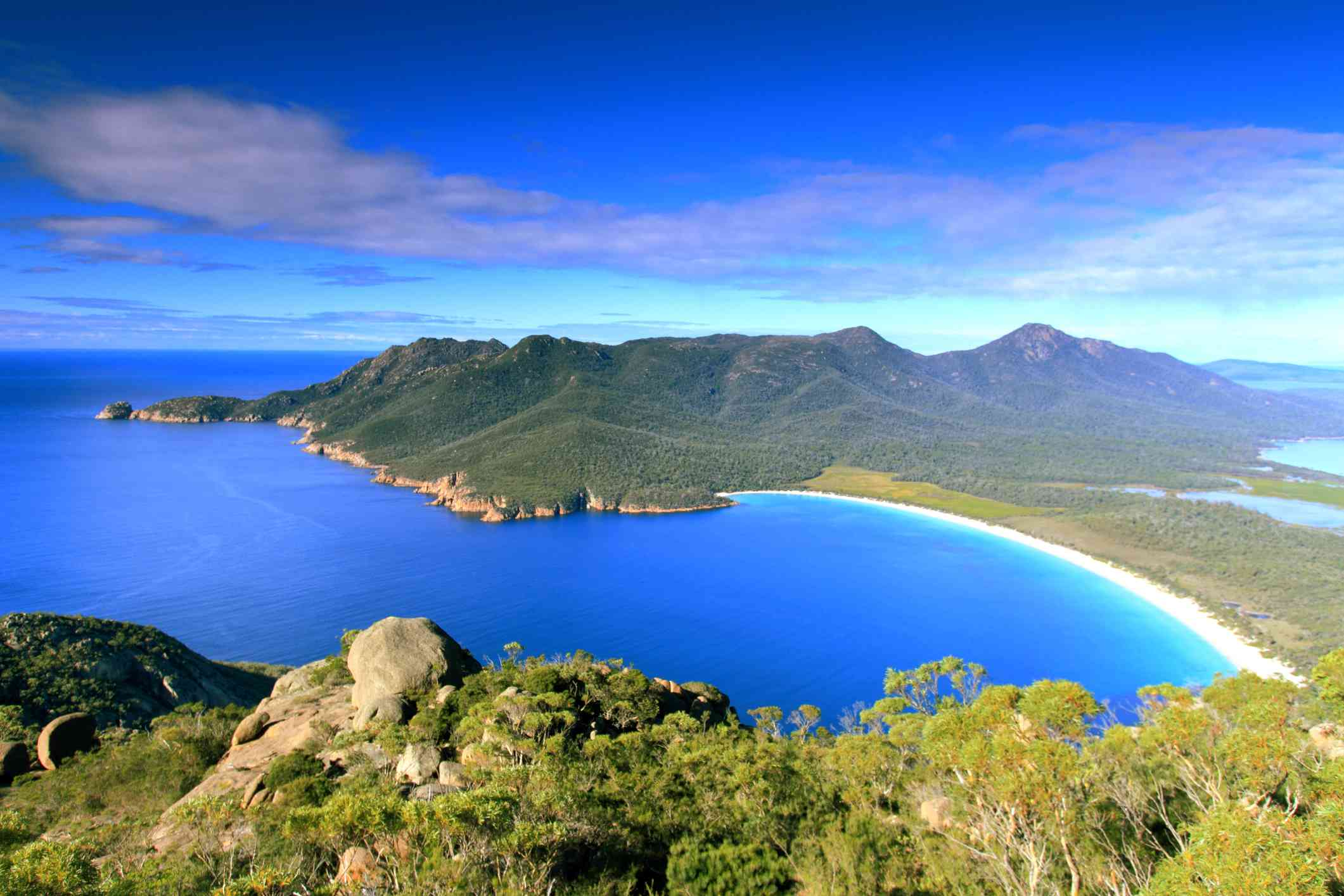View of Wineglass Bay from nearby hill