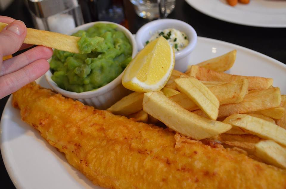 Fried fish, chips and mushy peas at Sea Shell of Lisson Grove