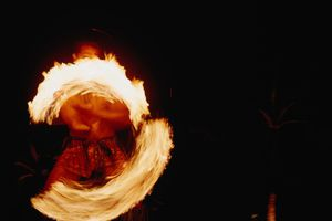 A firedancer at the finale of the Polynesian Extravaganza, Paradise Cove Luau