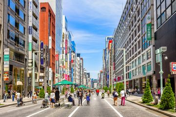 Chuo-dori, the main shopping street in the Ginza district of Tokyo, Japan