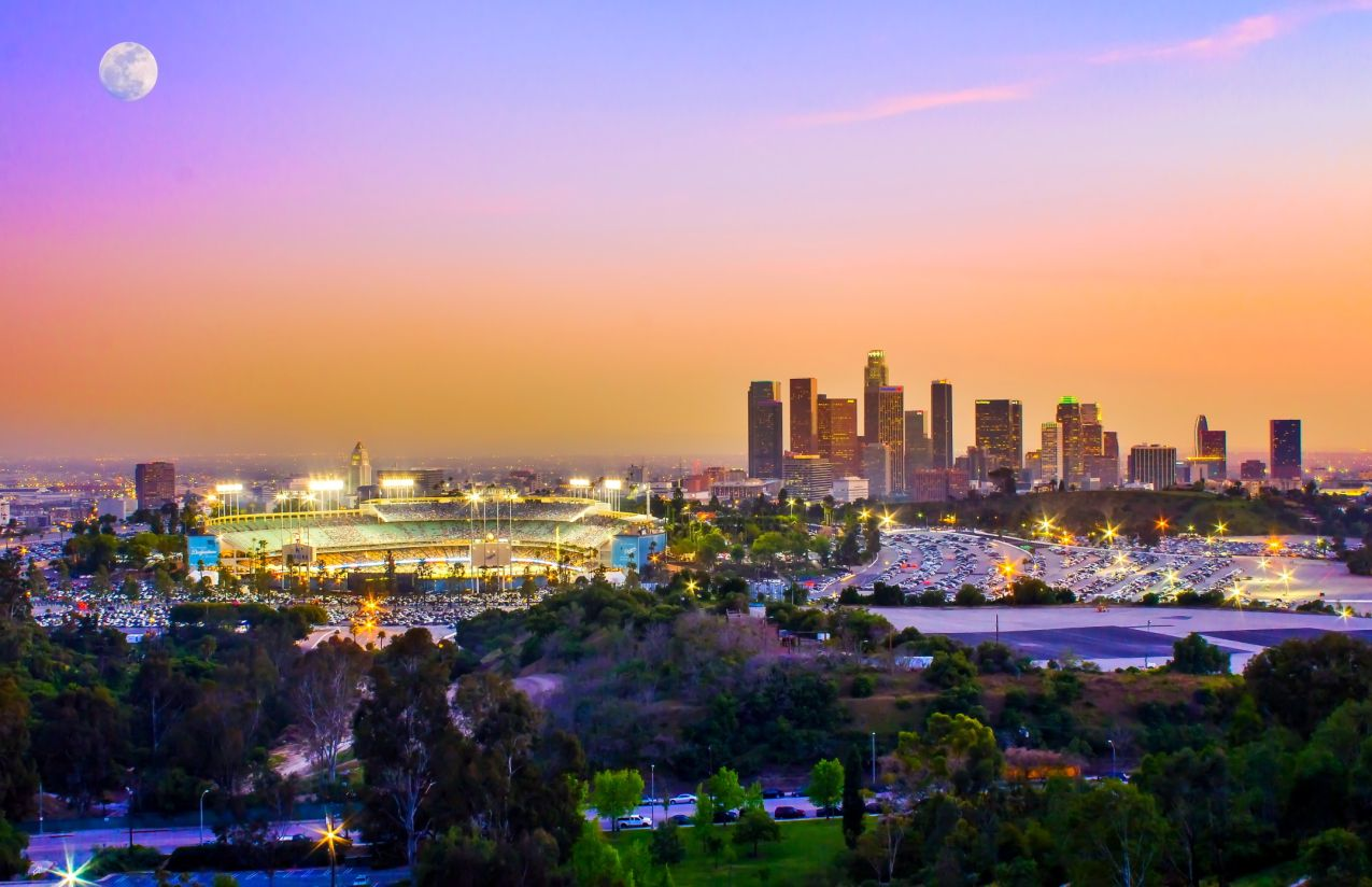 Elysian Park views of downtown and Dodger Stadium