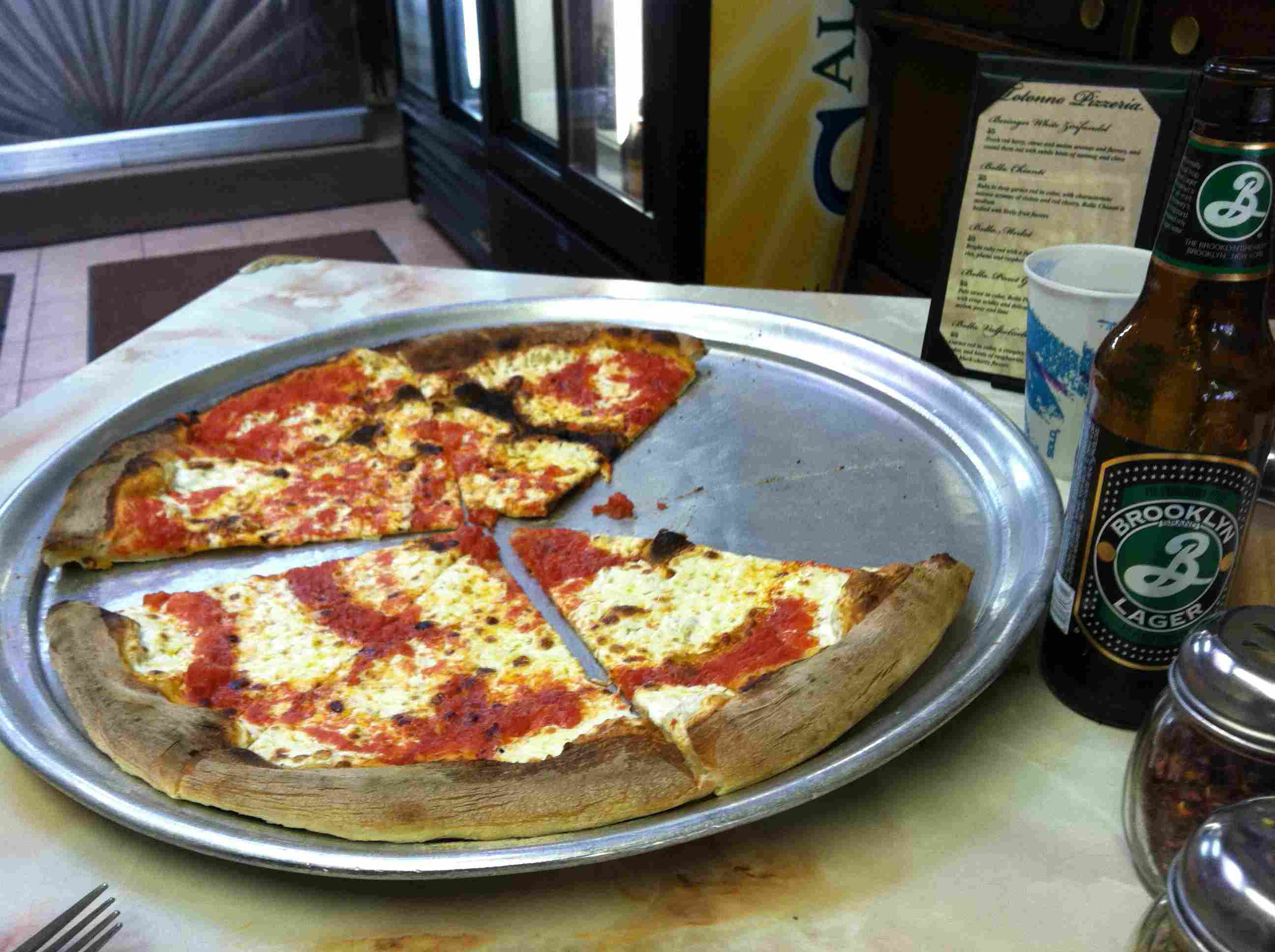 Pizza served at Totonno's Pizzeria Napolitana