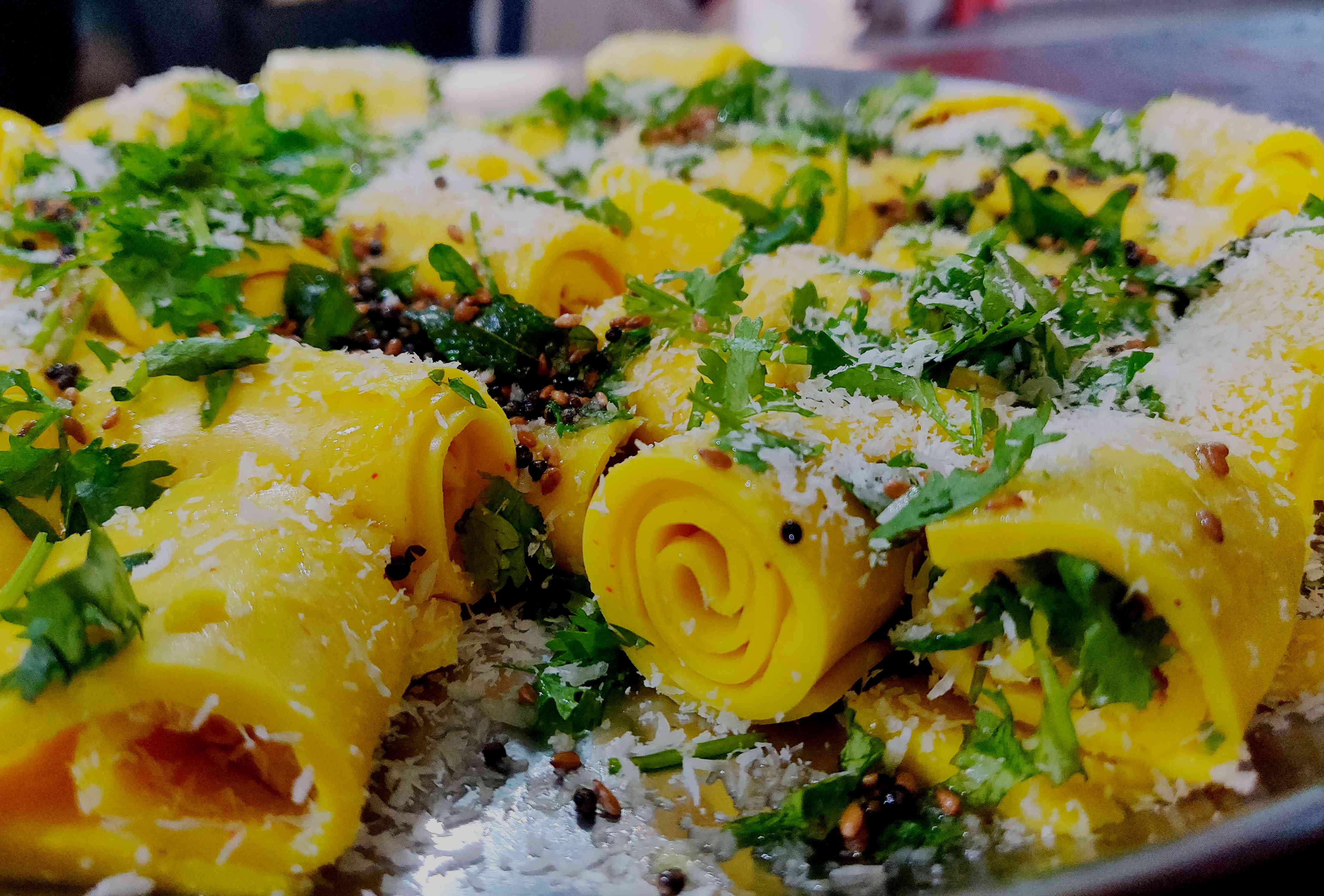 Khandvi, also known as Patuli, Dahivadi or Suralichi Vadi, is a savory snack in Maharashtrian cuisine as well as in Gujarati cuisine of India.