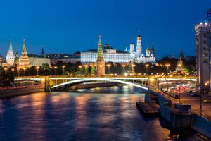 View of Kremlin palace and red square after sunset in Moscow