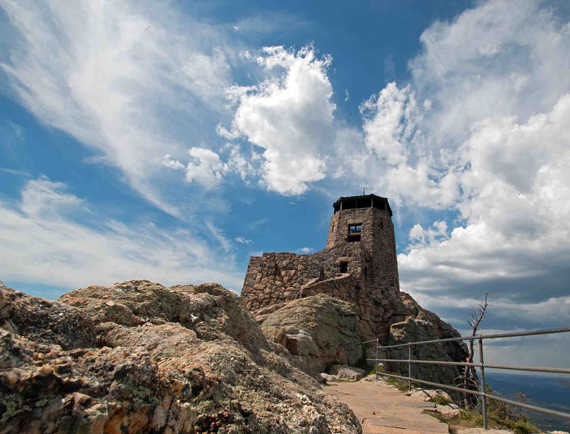 Black Elk Peak Fire Lookout Tower in Custer State Park in the Black Hills of South Dakota