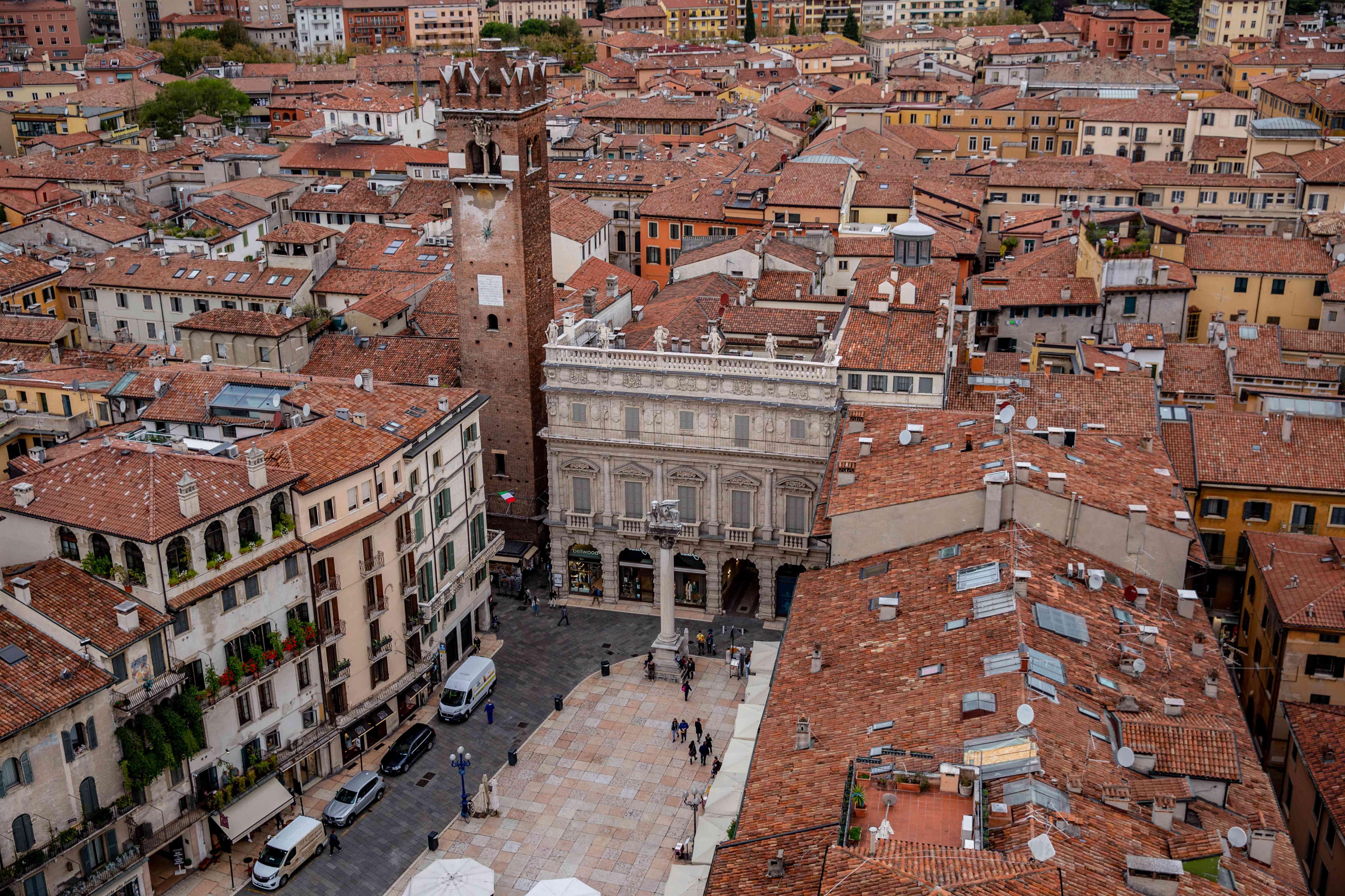 Piazza delle Erbe from above in Verona, Italy