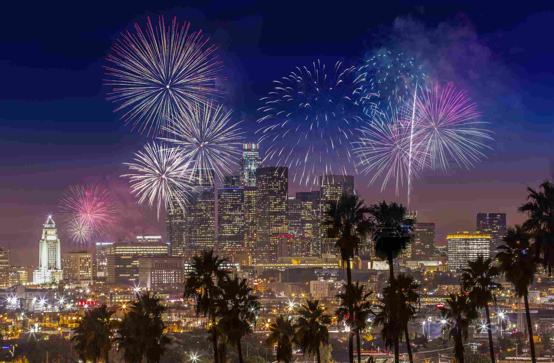 A stock photo of fireworks over Downtown Los Angeles, California