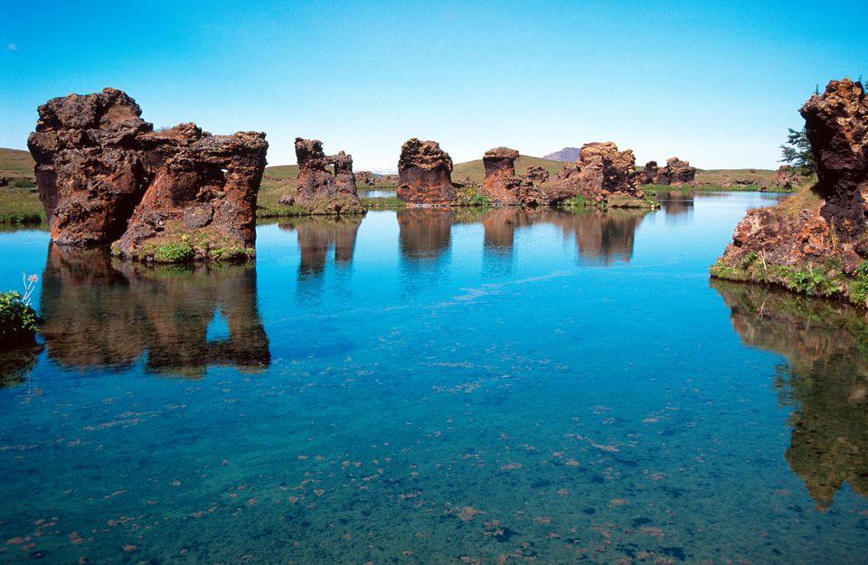 ¿Formación rocosa en el lago Myvatn