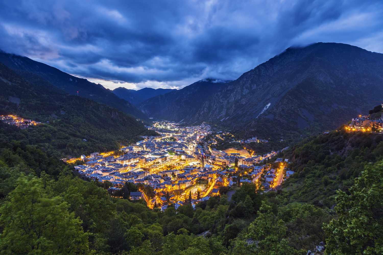 Nighttime view of Andorra la Vella, Andorra