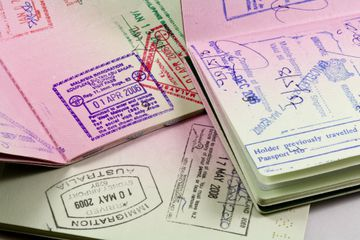 Passports with immigration stamps for Asia travel