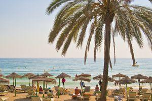 A beach in Spain in July