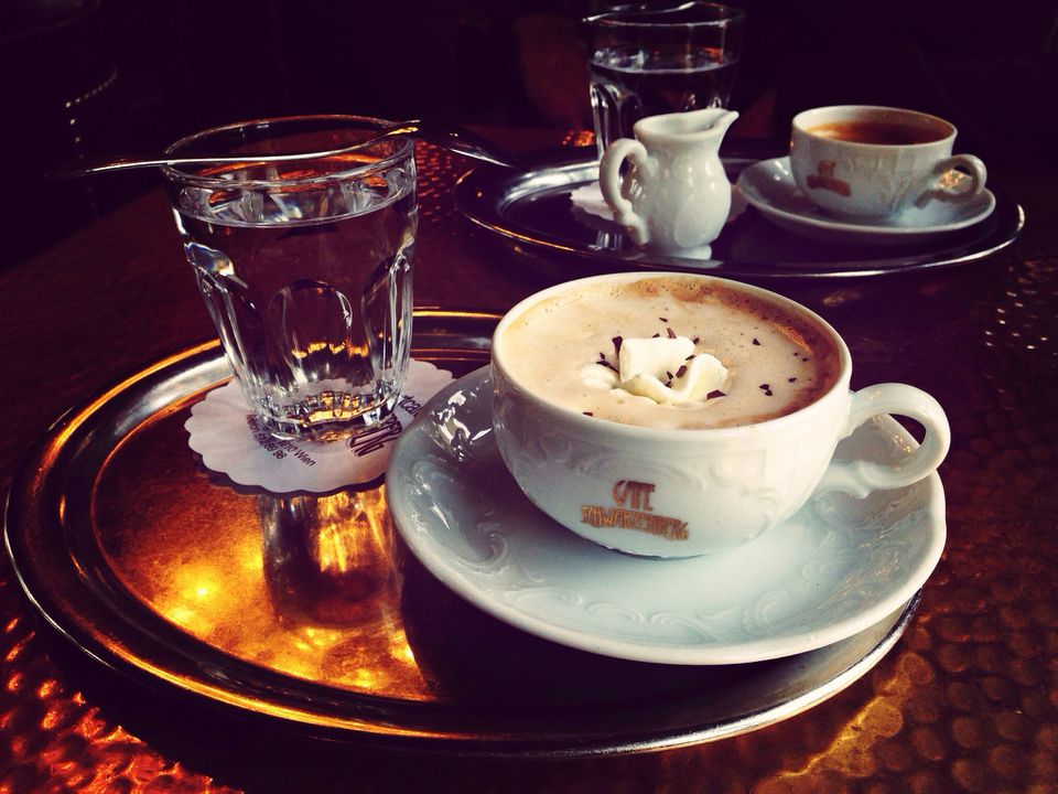 Typical Viennese style coffee in Vienna, Austria