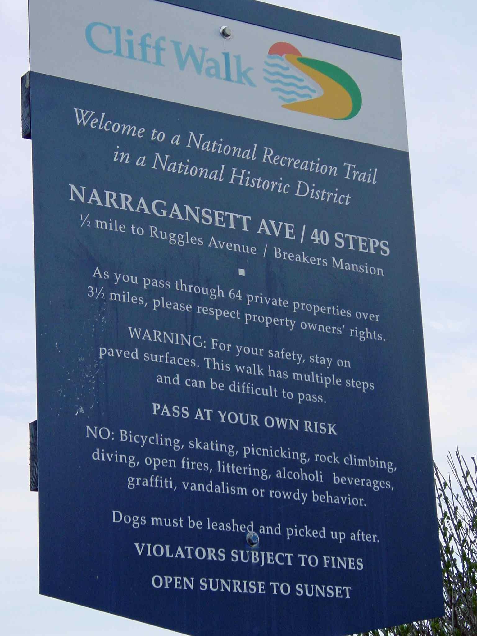 Cliff Walk Newport Rules for Visitors