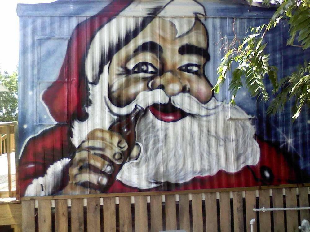 mural of Santa Clause at Santa's Pub