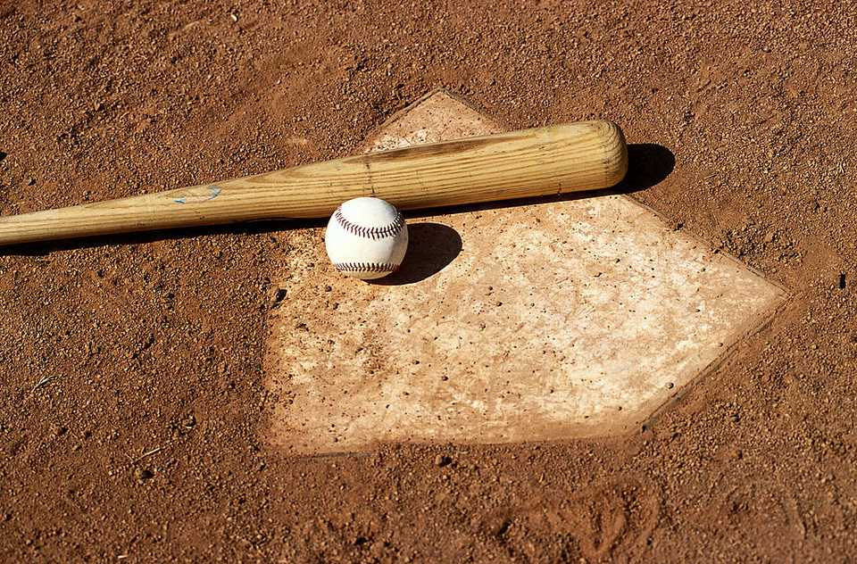Baseball home plate, bat and baseball