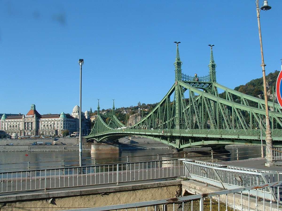 Erzsebet (Elizabeth) Bridge Over the Danube River in Budapest