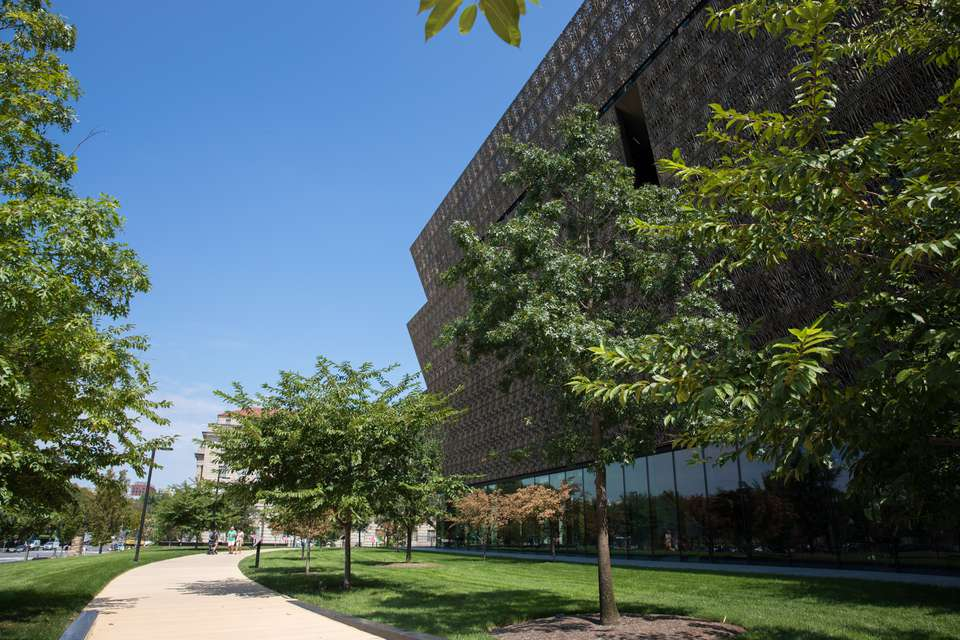 View of the outside architecture of the Museum of African American History
