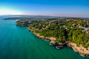 Beach of Tamarit in Tarragona from a Drone (Catalonia, Spain)