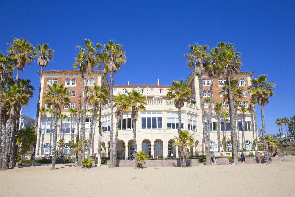 Hotel Casa del Mar, on beach near palm trees of Santa Monica, Southern California, USA