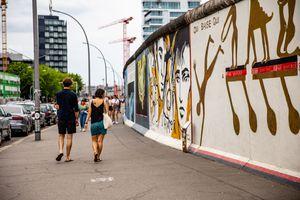 People walking by the easy side gallery in Kreuzberg