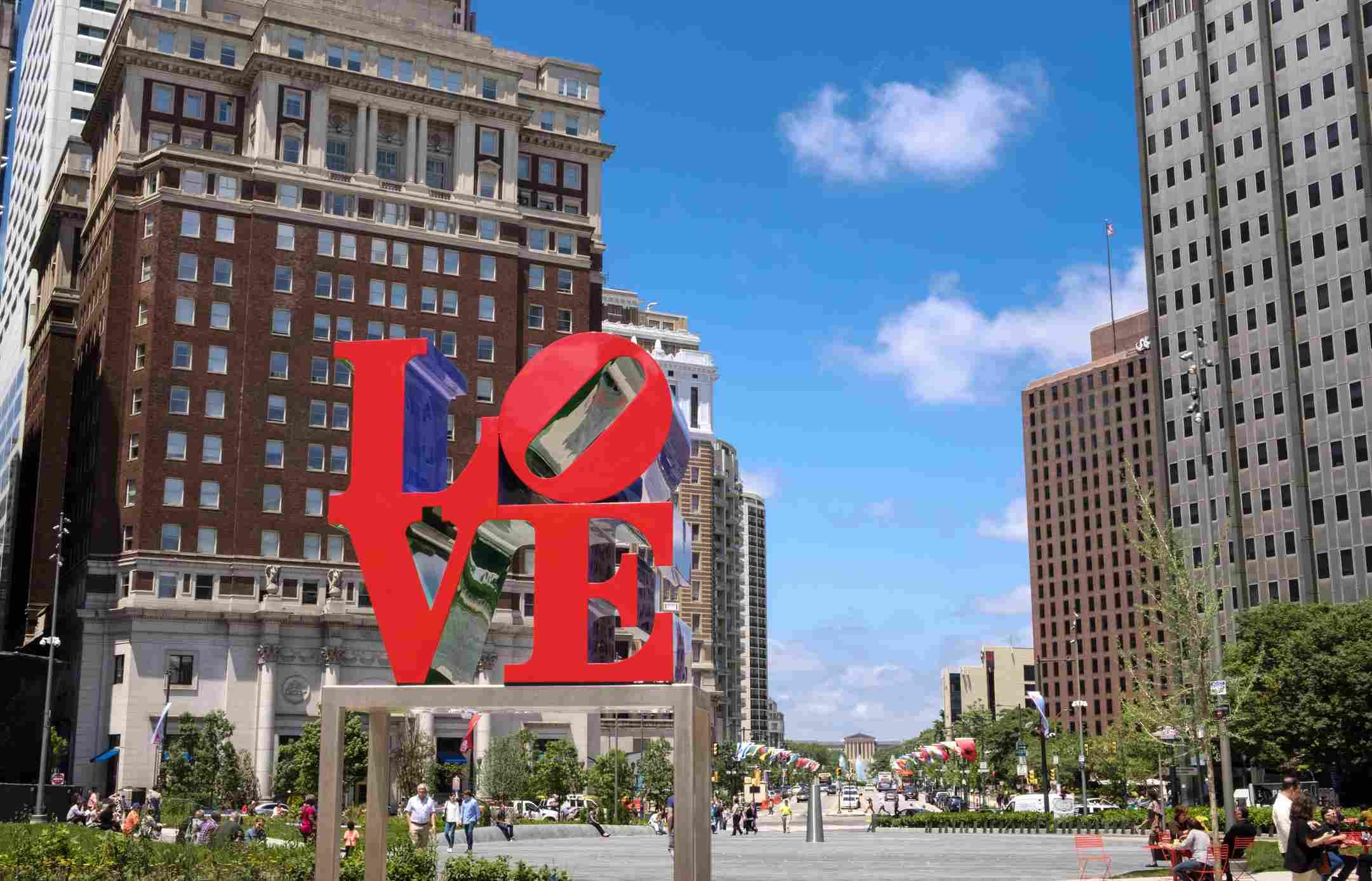 Love Park and Plaza in Summer in Center City Philadelphia
