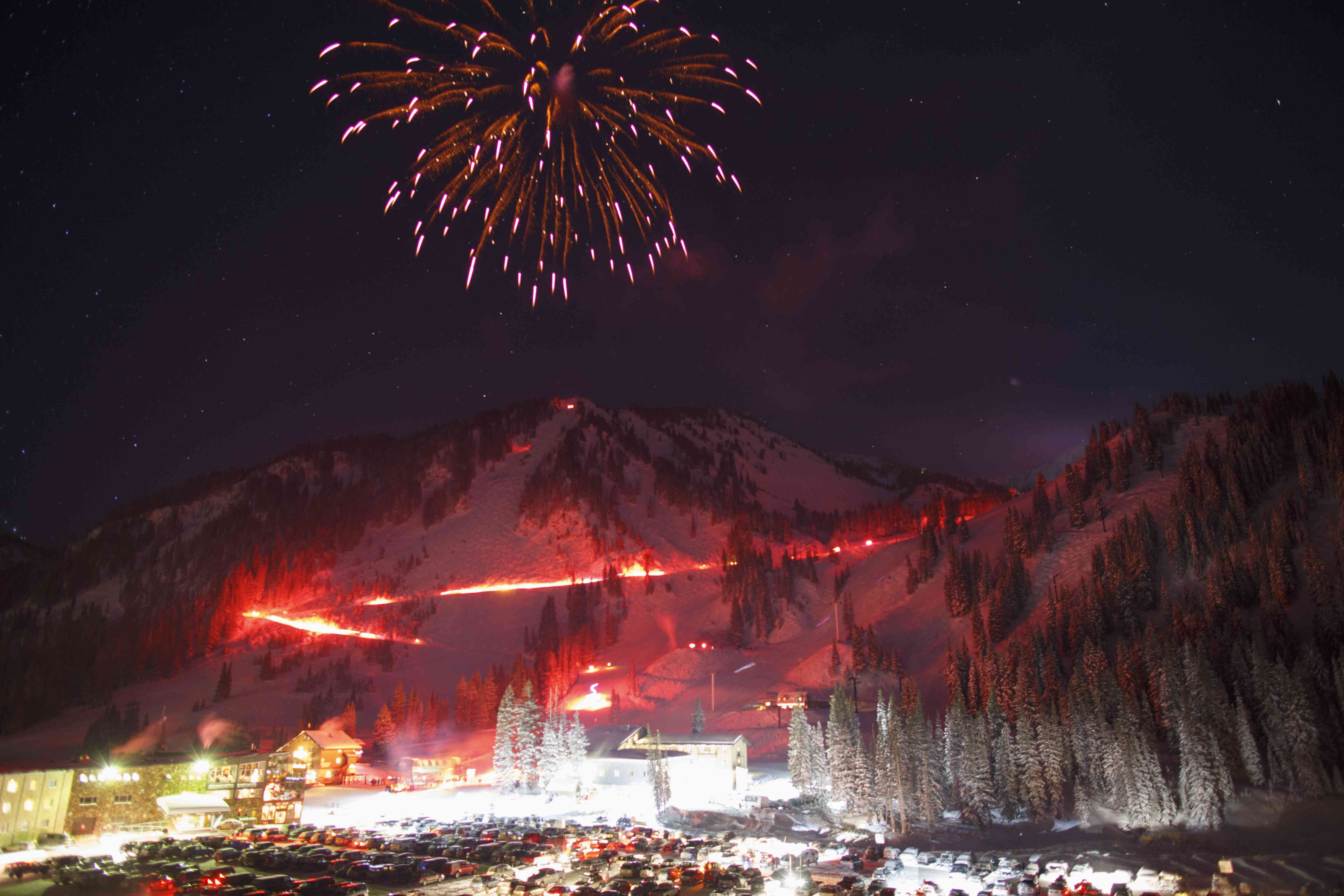 Torch Light Parade down mountain on New Year's Eve