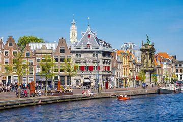 Buildings along Spaarne River in Haarlem