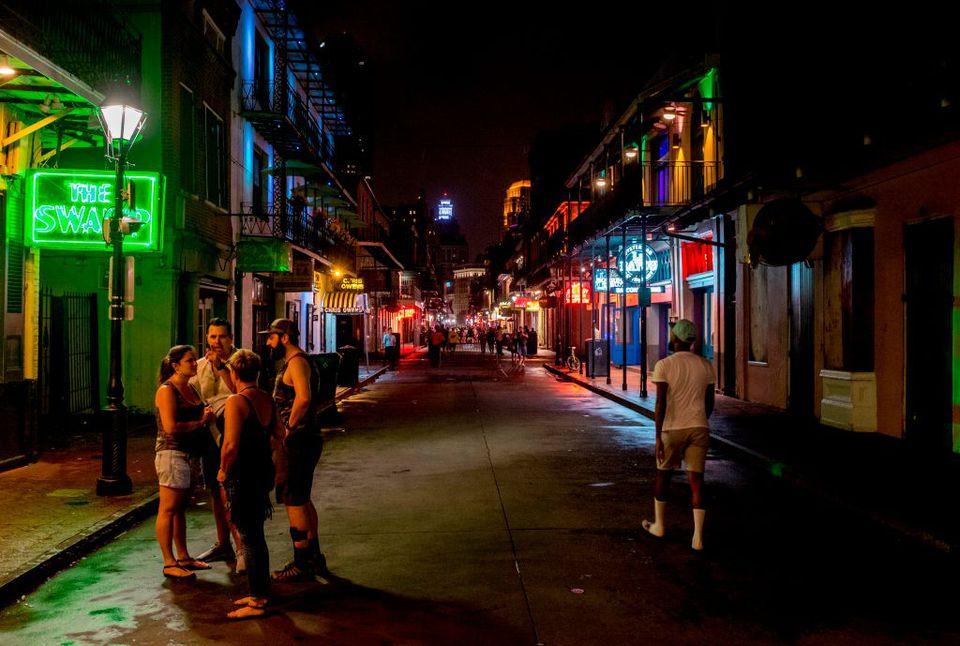 Bourbon Street in New Orleans in July