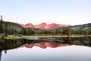Mountains and trees reflected in a still lake in the rocky mountain national park